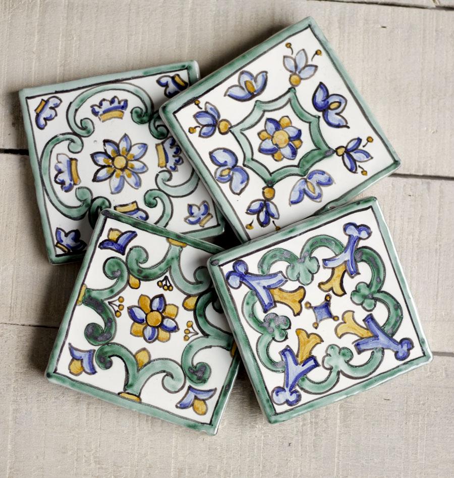 Azulejos artesanales posavasos decoraci n pared - Azulejos artesanales ...